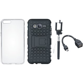Oppo A71 Shockproof Tough Armour Defender Case with Silicon Back Cover, Selfie Stick and OTG Cable