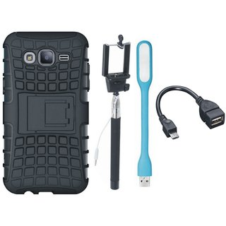 Samsung C9 Pro Defender Back Cover with Kick Stand with Selfie Stick, LED Light and OTG Cable