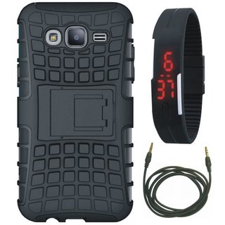 Samsung C9 Pro Defender Back Cover with Kick Stand with Digital Watch and AUX Cable
