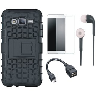 Samsung C9 Pro Defender Back Cover with Kick Stand with Tempered Glass, Earphones and OTG Cable