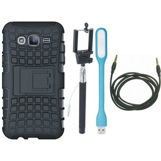 Samsung C9 Pro Defender Back Cover with Kick Stand with Selfie Stick, USB LED Light and AUX Cable