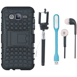 Samsung C9 Pro Defender Back Cover with Kick Stand with Selfie Stick, Earphones and USB LED Light