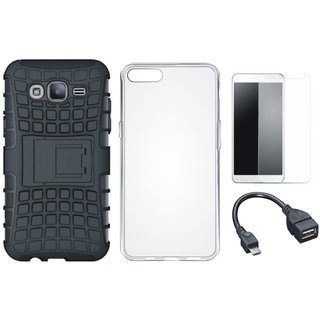 Samsung C9 Pro Defender Back Cover with Kick Stand with Silicon Back Cover, Tempered Glass and OTG Cable