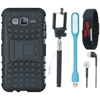 Samsung C9 Pro Defender Back Cover with Kick Stand with Selfie Stick, Digtal Watch, Earphones and USB LED Light
