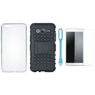 Samsung C9 Pro Defender Back Cover with Kick Stand with Silicon Back Cover, Tempered Glas and USB LED Light