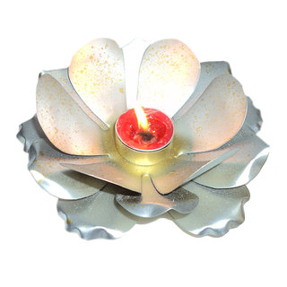 AH Lotus Design Silver color Iron Tealight Votive Candle Holder ( Pack of 1 )