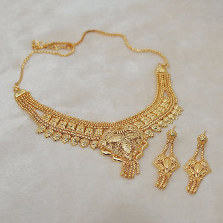 JewelMaze Brass Forming Gold Plated Necklace Set-1108105