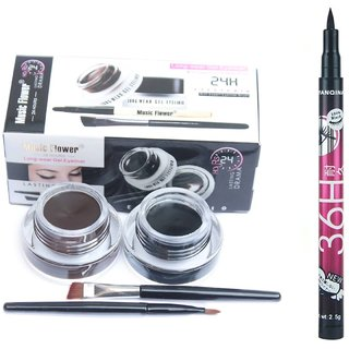 Music flower gel eyeliner and sketch pen eyeliner combo
