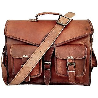 Satya Mart Genuine Leather Messenger Bags For Men Women Briefcase Laptop Bag Best Computer Shoulder
