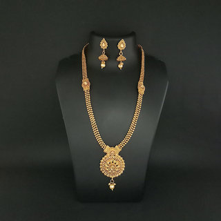 JewelMaze Austrian Stone Gold Plated Haram Necklace Set-1109825A