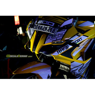 PULSAR RS 200 Custom Decals/Stickers Full Body RACE Kit-YELLOW