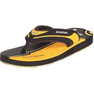 ADDA COMFORTABLE BLACK / YELLOW COLOR FLIPFLOPS FOR MEN