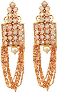 JewelMaze AD Stone Gold Plated Dangler Earrings-1312927A