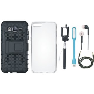 Vivo V5s Shockproof Tough Armour Defender Case with Silicon Back Cover, Selfie Stick, Earphones, USB LED Light and AUX Cable