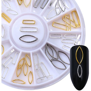 3D Nail Art Decoration Grey Gold Circle Star Round Square Triangle Mixed Accessories in Wheel Design No 30