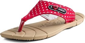 ADDA COMFORTABLE BEIGE/RED COLOR FLIPFLOPS FOR WOMEN