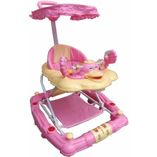 Oh Baby Baby Duck Shape Adjustable Musical Pink Color Walker For Your Kids SE-W-69