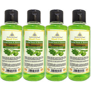 Khadi Pure Herbal Neem  Aloevera Shampoo - 210ml (Set of 4)