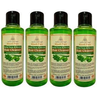 Khadi Pure Herbal Neem  Aloevera Shampoo - 210ml (Set of 4)