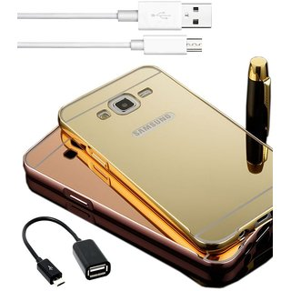 3 in 1 Combo of Golden Aluminum Metal Bumper Mirror PC Back Case Cover for Samsung Galaxy J2