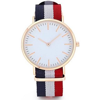 Varni Retail New White Dial Blue White Red Color Strap Boys Watch For Men  CW3BlueWhiteRedVR