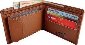 Men Tan Genuine Artificial Leather Wallet (10 card slots)