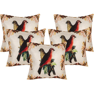Vinayaka Multicolor Polyester Jute Fabric bird Print Cushion Cover 16 x 16 (Set of 5)