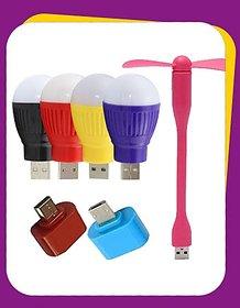 3 Pcs Combo USB Fan + USB Bulb + OTG Adopter (Assorted Colors)