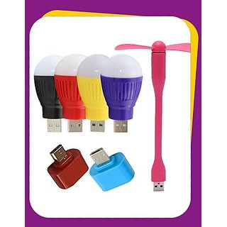 3 Pcs Combo USB Fan + USB Bulb + OTG Adopter (Assorted Colors)