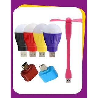 3 Pcs Combo USB Fan + USB Bulb + OTG Adopter 3 Months Seller Warranty by KSJ