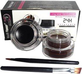 Music Flower Long Wear Gel Eye Liner(Black,Brown) 6 g
