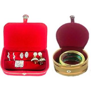 ADWITIYA Combo - Red Ring Box and Red Bangle Jewelry Storage Organizer Travel Friendly Gift Case