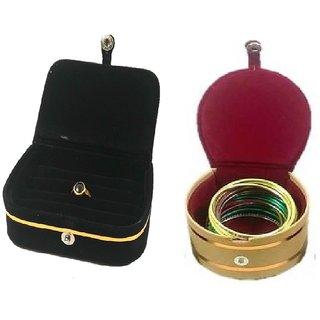 ADWITIYA Combo - Black Ring Box and Red Bangle Jewelry Storage Organizer Travel Friendly Gift Case