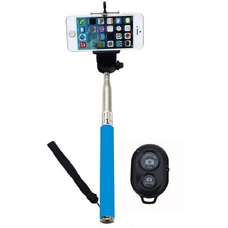 All India Handicraft Selfie Stick for Android and iOS Phones With Bluetooth Remote - Blue