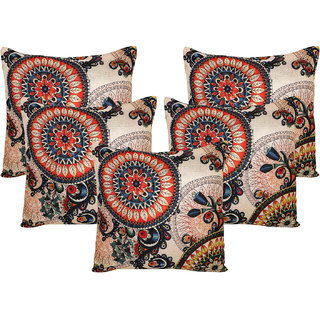 Vinayaka Multicolor Polyester Jute Fabric Designer Print Cushion Cover 16 x 16 (Set Of 5)