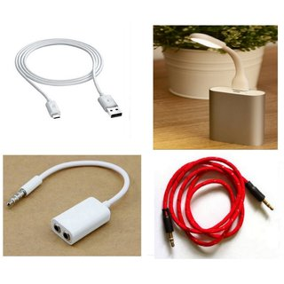 Combo of Led Light, Data Cable, Splitter and Aux Cable (Assorted Colors)