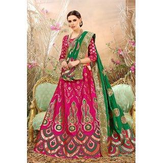 Surupta Pink Banarasi Silk Circular Semi Stitched Lehenga MANSAA-7361