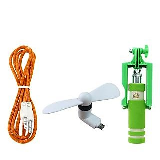 Combo of Aux Cable ,V8 OTG Fan With Mini Selfie Stick (Assorted Colors)