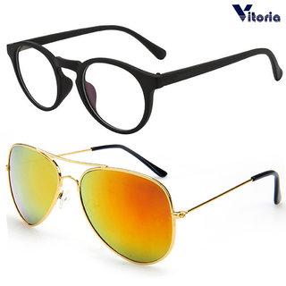 Vitoria Stylish Unisex Fashionable Sunglasses With Box  (Pack Of 2)