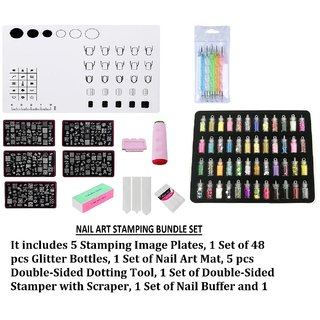 Royalkart Silicone Work Space Stamping Plate Washable Table Transfer Tool Nail Art Mat Combo Kit (CF Plate)