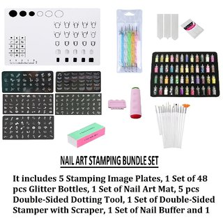 Royalkart Silicone Work Space Stamping Plate Washable Table Transfer Tool Nail Art Mat Combo Kit (TO Plate)