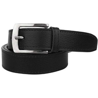 Black PU Pin-Hole Buckle Belt for Mens (Synthetic leather/Rexine)
