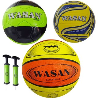 Wasan Sports Balls Set - Football/Basketball/Volleyball/Pump (for 15 Years and Above)