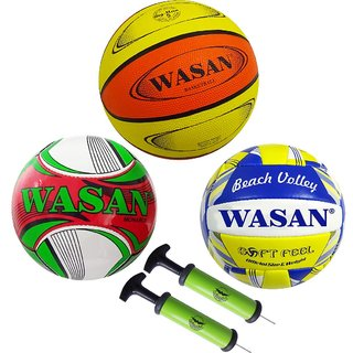 Wasan Sports Balls Set - Football/Basketball/Volleyball/Pump(for 10 Years and Above)
