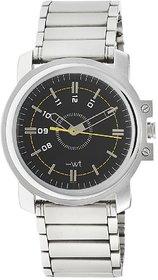 Hwt Round Black Dial Stainless Steel Men's Quartz Watch