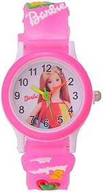 Hetshicreation Round Dial Pink Silicone Strap Analog Watch for Girls