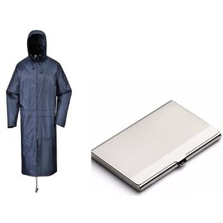 Combo Of Blue Knee Length Long Rain Coat With Steel Card Holder