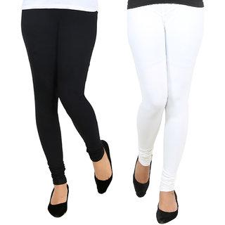 AGSfashion Women's Lycra Cotton Churidar LeggingsPO2 (Black  White ) Free Size