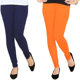 AGSfashion Women's Lycra Cotton Churidar LeggingsPO2 (Orange  Navy Blue ) Free Size