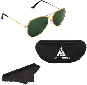 Adam Jones Green Aviator Sunglasses for men and women (Golden Frame with Gradient Lens)